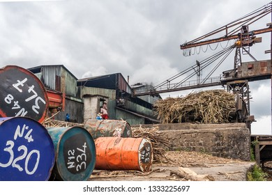 Brickaville, Madagascar, november 8, 2014: The quay of a sugar factory in bad condition, today closed.