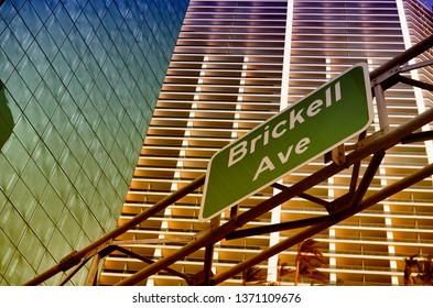 Brickell Avenue road sign in Downtown Miami, Florida
