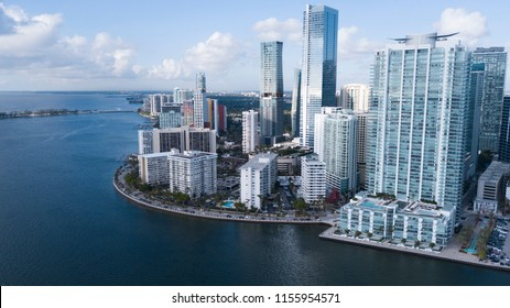 Brickell, The Financial District in the heart of Brickell Florida. Business towers and luxury condos tower over Biscayne Bay.