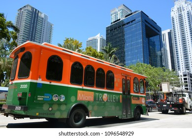 BRICKELL, FL, USA - APRIL 16, 2018: Photo of Miami Trolley free public transportation taken on Brickell Avenue