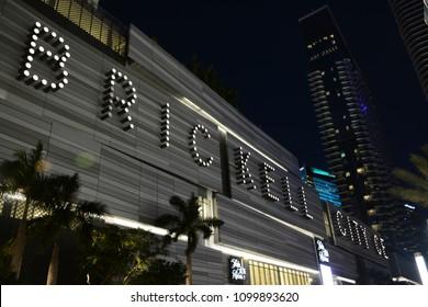 BRICKELL, FL, USA - FEBRUARY 18, 2018: Beautiful night view of Brickell City Center in Miami, Florida