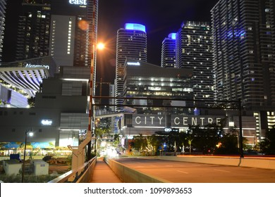 BRICKELL, FL, USA - FEBRUARY 18, 2018: Beautiful night view of Brickell City Center in Miami, Florida