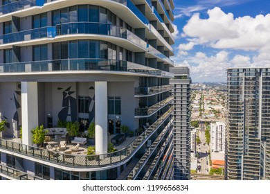 BRICKELL, FL, USA - OCTOBER 8, 2018: Aerial Miami Brickell highrise tower with recreational amenities area