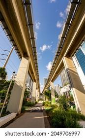 Brickell, FL, USA - September 26, 2021: Photo of the new Underline Brickell Miami Downtown