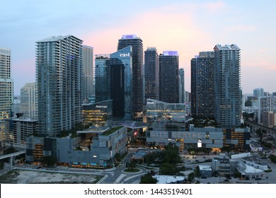 Brickell, Florida / United States of America - June 10, 2019: A night time picture of Brickell, Florida as the sun set
