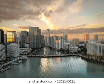 BRICKELL KEY, FL, USA - DECEMBER 17, 2018: Beautiful sunset view of Brickell in Miami, Florida