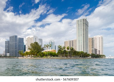 Brickell Key, Miami, Florida - a man-made island off the mainland Brickell neighborhood of Miami is a residential development with luxury condominiums and a five star hotel