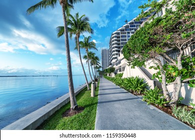 Brickell Key oceanfront at dawn, Miami.