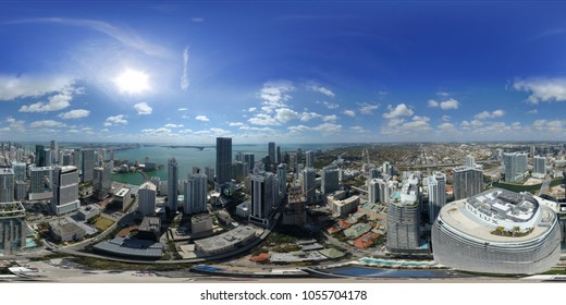 BRICKELL MIAMI, FL, USA - MARCH 18, 2018: Aerial 360 panorama of Brickell City Centre Heights district