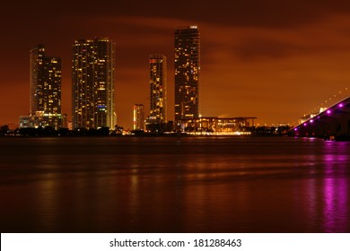 Brickell Miami Florida night skyline