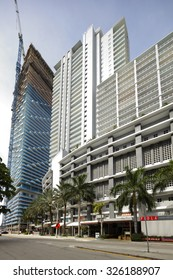 BRICKELL - SEPTEMBER 25: Image of multiple construction sites underway at Downtown Brickell during the real estate boom of 2015 September 25, 2015 in Brickell Miami, FL, USA