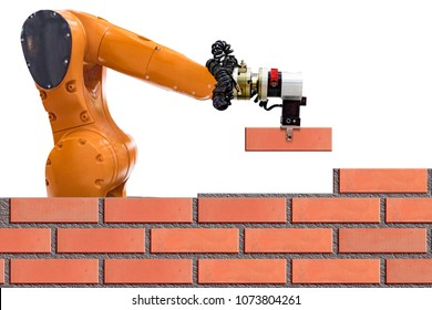Bricklayer robot working for building brick wall. on white background.concept of robotic technologies in construction industry.