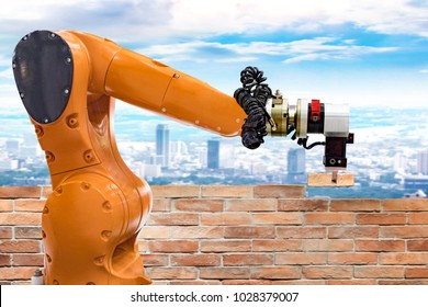Bricklayer robot working on the construction site. for building brick wall. concept of robotic technologies in construction industry.