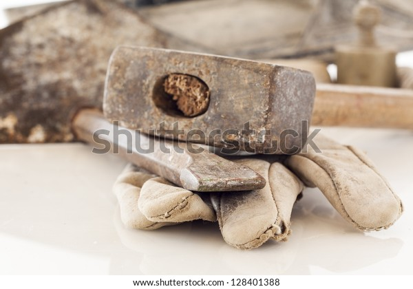 bricklayer tools (chisel and hammer) ,construction background