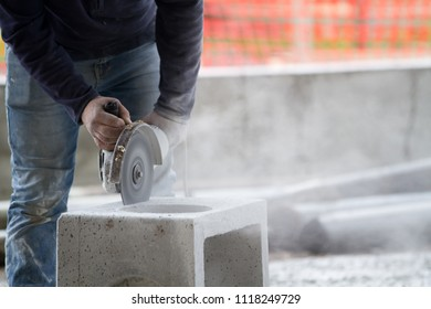 bricklayer at work in a building site