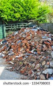 Bricks after the demolished building