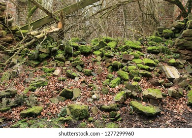 Bricks from a collapsed brick wall covered in moss in England. Bricks from a collapsed brick wall near farm buildings covered in moss in England.