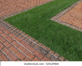 Bricks and grass in the Museum , paving