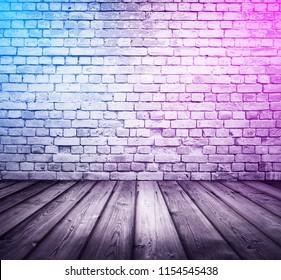 bricks interior background with neon lights