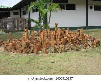 Bricks on the grass forming a toy city