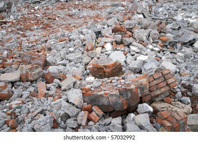 Bricks and other debris at a building site