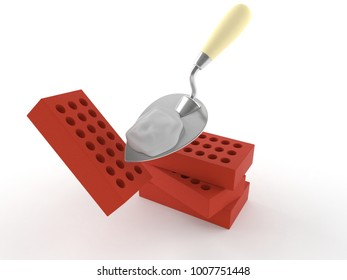 Bricks with trowel isolated on white background. 3d illustration
