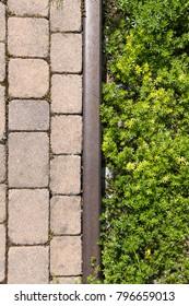 bricks vs grass, concept of human construction versus nature