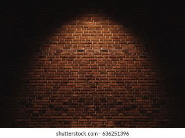 Bricks wall with light spot on center backgrounds
