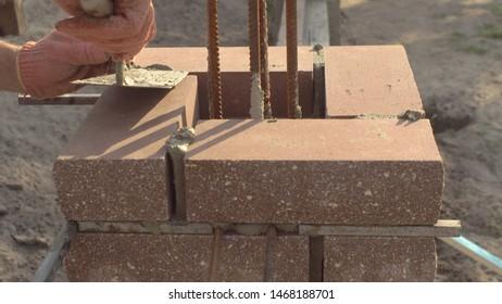 Brickwork. Details of brickwork under the seam