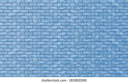 Brickwork with marble or blue ice texture. Background of evenly laid bright colored bricks. Template for text and design. Cold wall. Panoramic rendering image.