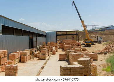 Brickworks. Manufacture of bricks.  Bricks production. Burnt bricks