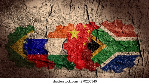 BRICS - association of five major emerging national economies members flags on gears