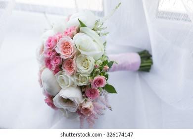 Bridal beautiful romantic bouquet of various flowers