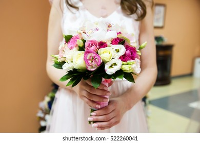 Bridal bouquet in bride hands