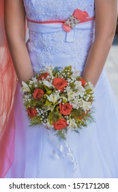 bridal bouquet  in the the bride's hands