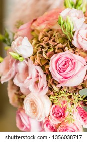 A bridal bouquet the day of the wedding