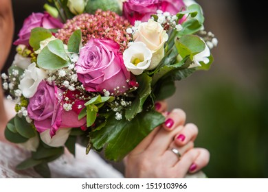 Bridal Bouquet flowers pink rose on white wedding party