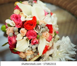bridal bouquet on a glass table