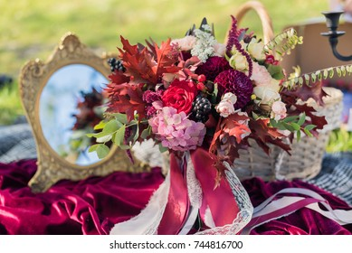 Bridal bouquet on grass background.