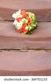 Bridal Bouquet on stairs.