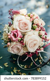 Bridal bouquet with pink and yellow roses