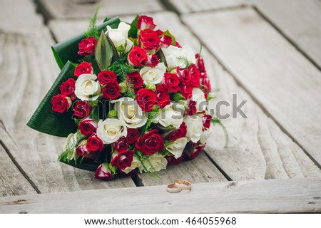 bridal bouquet red white roses vintage stock photo edit now