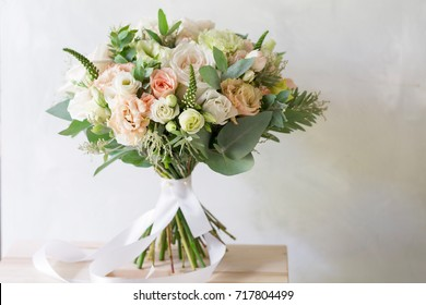 Bridal bouquet. A simple bouquet of flowers and greens
