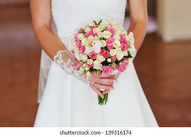 bridal bouquet of white and pink roses