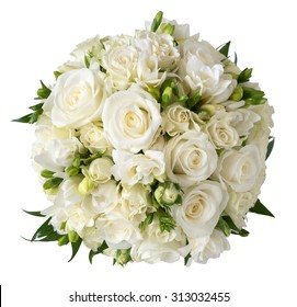 Bridal bouquet of white rose in bright colors with blue handle isolated on white