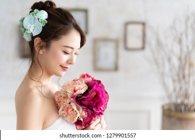 Bridal concept of an asian woman.