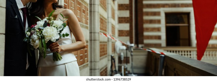 Bridal couple is ready for getting married, happy bride and groom together.