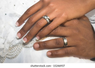 Bridal Couple showing of their wedding rings