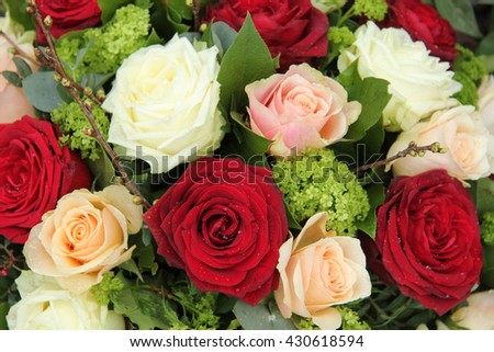 Bridal flower arrangement red pink white stock photo edit now bridal flower arrangement in red pink and white big roses mightylinksfo