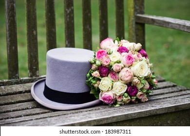 Bridal flowers and top hat